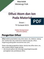 Pertemuan 5 - Difusi Atom Dan Ion Pada Material