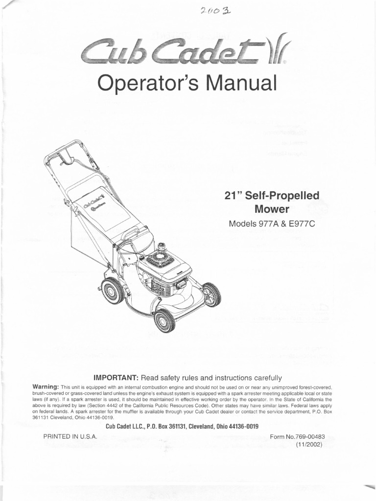 Cub Cadet Lawnmower Operators Manual Models 977A E977C   Lawn Mower   Belt  (Mechanical)