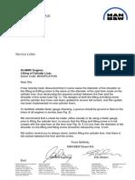 Lifting of Cylinder Liner Sevice Letter