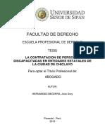 La Contratacion de Personas Discapacitadas en Entidades Estatales de La Ciudad de Chiclayo