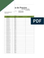 Lista de Precios en Excel