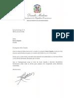 Carta de condolencias del presidente Danilo Medina a Bonny Cepeda por fallecimiento de su madre, la cantante Anan Cepeda