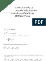 Determinación de Las Ecuaciones de Velocidad en Reacciones