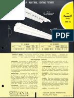 Sylvania Power-V 1500ma Fluorescent Industrial Spec Sheet 1962
