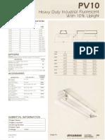 Sylvania PV10 Heavy Duty Fluorescent Industrial Spec Sheet 5-80