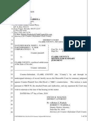Clark County Motion for Summary Judgement | Summary Judgment