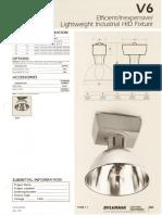 Sylvania V6 Lightweight HID Industrial Spec Sheet 5-80