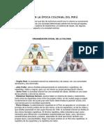 La Sociedad en La Época Colonial Del Perú