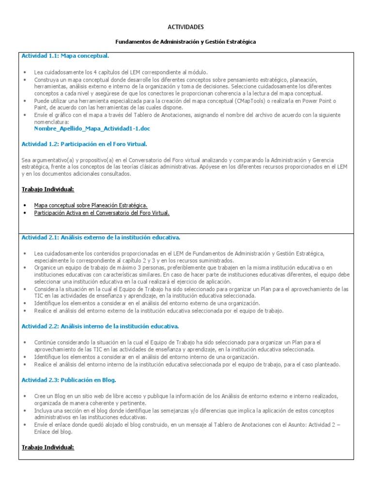 ACTIVIDADES Fundamentos de Administración y Gestión Estratégica