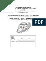 Basic Material Testing Laboratory Manual