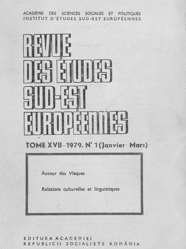 Revue Des Etudes Sud Est Europeenes 17 25 1979 1987