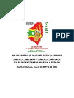 Memorias del XIX Encuentro de Pastoral Afrocolombiana 2010