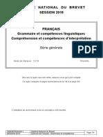 DNB LIBAN 2018 Francais-Grammaire-comprehension