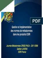 Gestion et implémentation des normes de métadonnées dans les produits ESRI