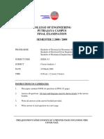 Circuit Analysis Final Exam Paper UNITEN