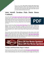 Situs Sbobet Taruhan Piala Dunia Bonus Cashback