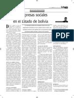 Las Empresas Sociales en El Estado Boliviano - Autor José María Pacori Cari