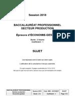 BAC PRO 2018 sujet économie gestion