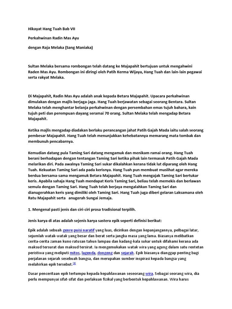 Hikayat Hang Tuah Bab Vii Docx
