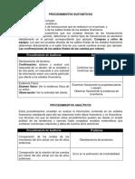 Procedimientos Sustantivos y Analíticos