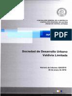 Informe Final 826-15 Sociedad de Desarrollo Urbano Valdivia Limitada, Auditoría Al Proceso de Generación de Recursos - Enero 2016