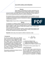 Resumen Dilatación Lineal de Sólidos Informe