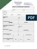 Supplier Quality System Audit Checklist