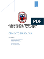 En Bolivia Se Inicia La Producción de Cemento Portland en El Año 1928 Con La Creación de La Fábrica de Cementos SOBOCE