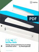 Westinghouse Lighting ECM Fluorescent Energy Saving Luminaires Brochure 1980