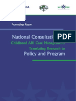 National Consultation on Childhood ARI Case Management -Translating Research to Policy and Program- 541