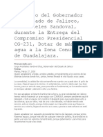 Discurso Del Gobernador Del Estado de Jalisco, Aristóteles Sandoval, Durante La Entrega Del Compromiso Presidencial CG-231, Dotar de Más Agua a La Zona Conurbada de Guadalajara.