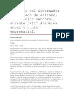 Discurso Del Gobernador Del Estado de Jalisco, Aristóteles Sandoval, Durante LXIII Asamblea Anual y Punto Empresarial.