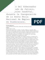 Discurso Del Gobernador Del Estado de Jalisco, Aristóteles Sandoval, Durante La Inauguración de La Sexta Feria Nacional de Empleo 2018 en Guadalajara.
