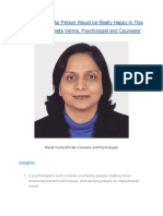 A Kind and Helpful Person Would be Really Happy in This Profession—Meeta Verma, Psychologist and Counselor