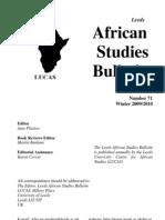 Africa Studies Bulletin No71 Winter 0910