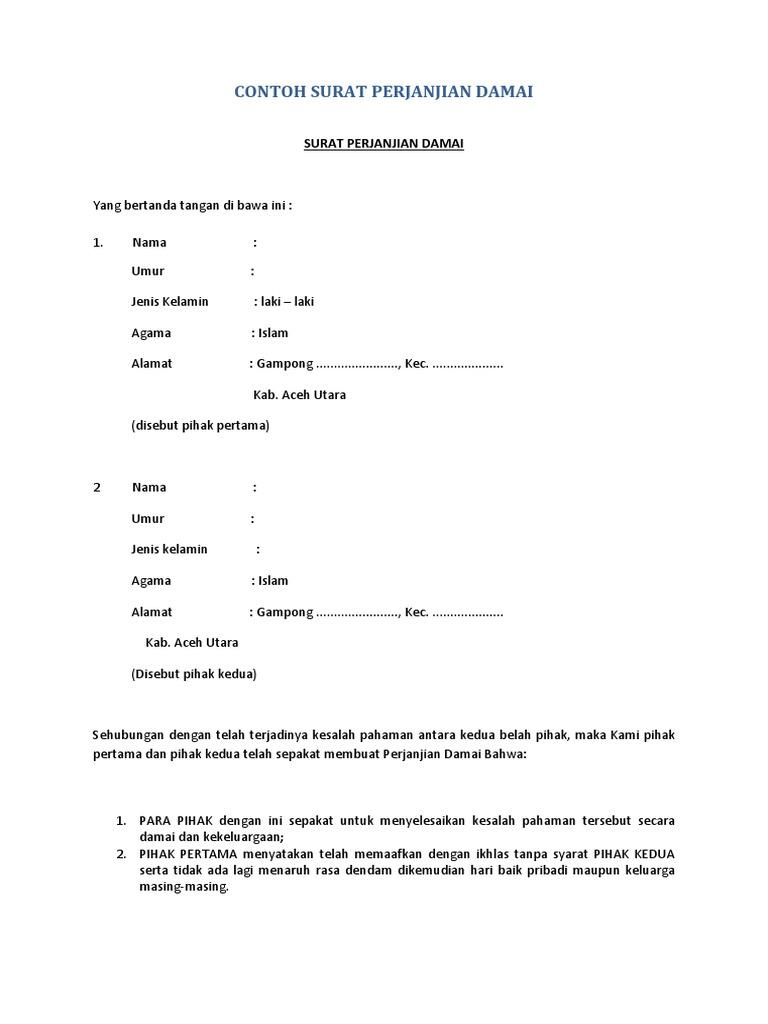 Contoh Surat Pernyataan Damai - Mosaicone