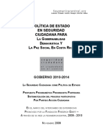 POLÍTICA DE ESTADO EN SEGURIDAD Ciudadana Para La Gobernabilidad Democrática Y La Paz Social En Costa Rica