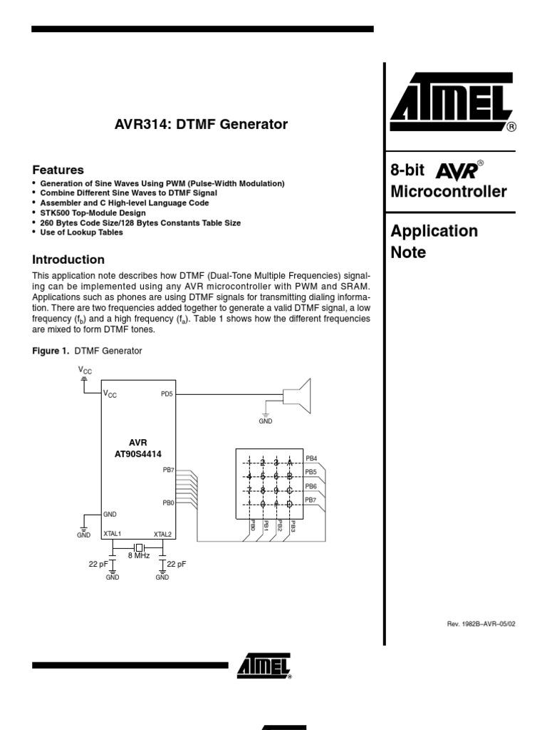 Avr Dtmf Pwm Generator | Frequency | Hertz