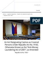 R.a. No. 10927 • an Act Designating Casinos as Covered Persons Under R.a. No