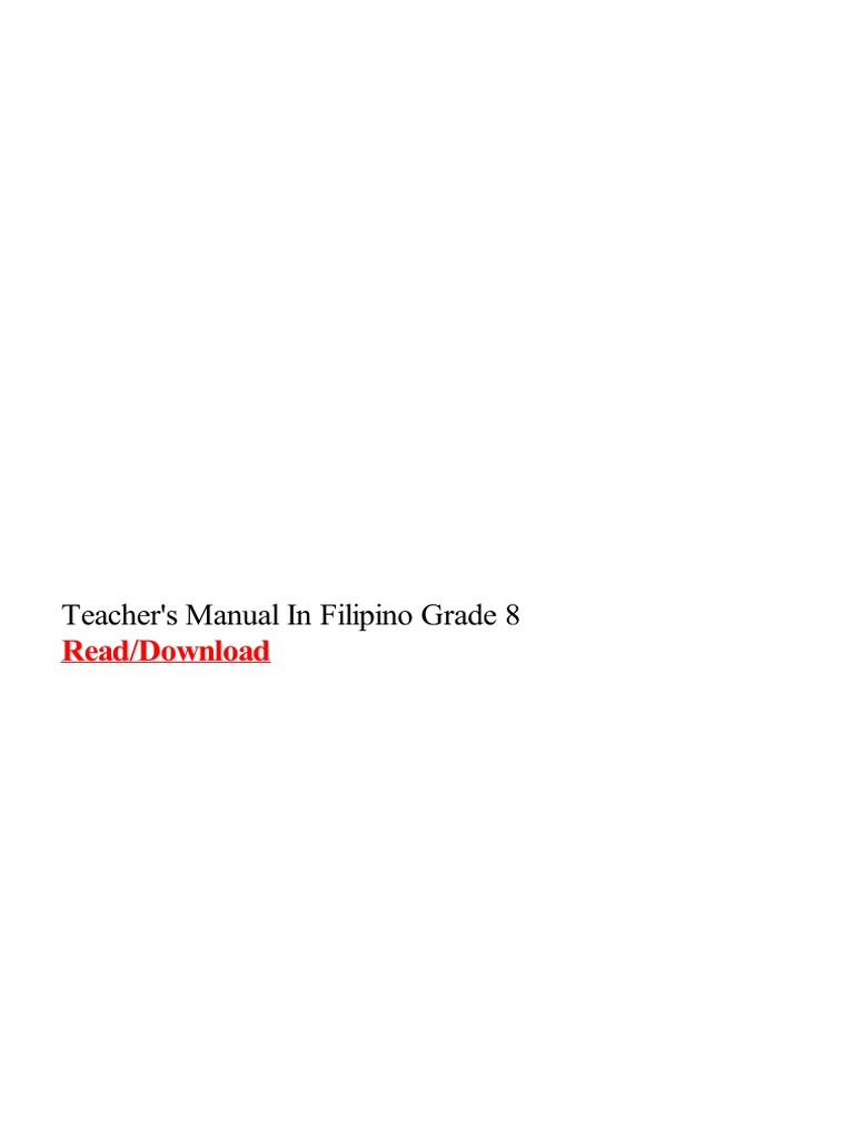 Teachers Manual in Filipino Grade 8   Teachers   Curriculum