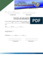 KP Form #12 Notice of Hearing (Conciliation Proceedings)