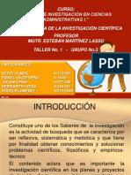 Diapositiva de Taller 1 de Investigacion Administrativas