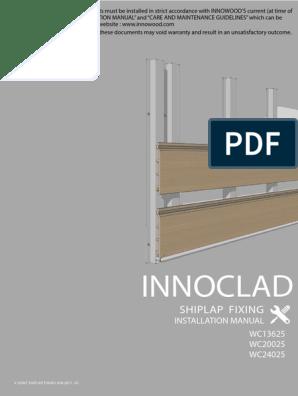INNOWOOD v Joint Shiplap Cladding Installation Manual JUN 2017 V2