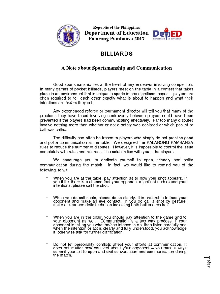 Palaro Billiard Rules And Regulation Cue Sports Pool Cue Sports - Open table rules