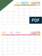 Calendario Mensual de Cualquier Año (12 Páginas, Diseño Ositos Arcoíris)1