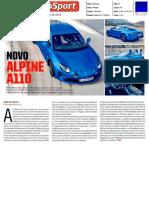 """NOVO ALPINE A110 NO """"AUTOSPORT"""""""