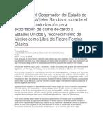 Anuncio de Autorización Para Exportación de Carne de Cerdo a Estados Unidos y Reconocimiento de México Como Libre de Fiebre Porcina Clásica.