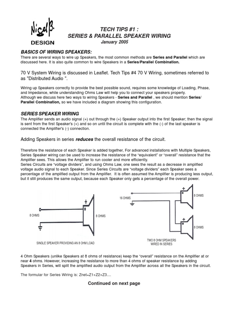Tech Tips 1 Speaker Wiring Series And Parallel Circuits