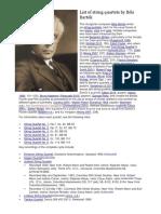 List of String Quartets by Béla Bartók