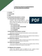 Indice Para El Trabajo El Proyecto de Emprendimiento_dirección de Empresas